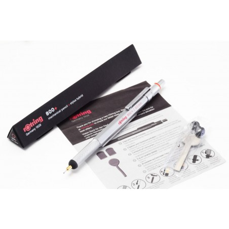 Rotring 800+ Silber 0,5mm Druck-Bleistift Gerändelter Griff Hexagonal OVP